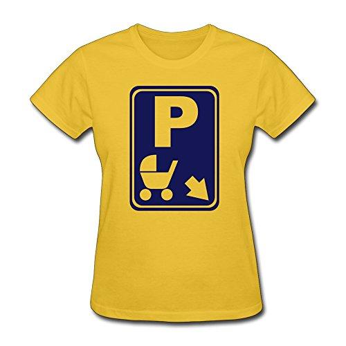 Printing Stroller Park Women Crewneck Tshirt Gold front-333377