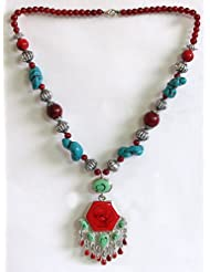 Tibetan Necklace With Hexagonal Pendant - Beads And Metal