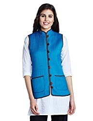 Jaypore Women's Art Silk Quilted Jacket (JPJAPJ000094414-S_Blue and Brown)