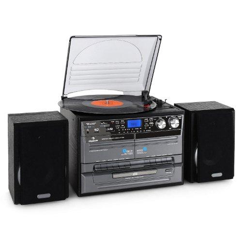 Auna Impianto Hi Fi stereo lettore cd, giradischi e cassette mangianastri (USB, SD, X-Bass, MP3)
