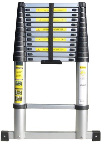 3.85m Telescopic Ladder with Unique Integral Safety Stabiliser and Heavy Duty Carry Bag