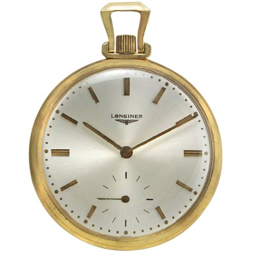 Longines 14k Gold Manual Wind Mens Vintage / Antique Open Face Pocket Watch Silver Dial 14kt
