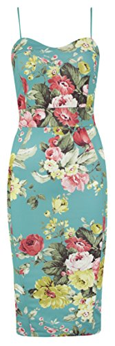 Womens Bodycon Wiggle Midi Dress Ladies Floral Print Pencil