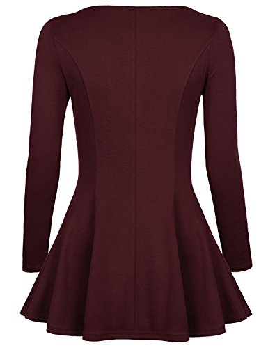 Timeson Womens Long Sleeve Comfy Loose Fit Trapeze Tunic Top with Scoop Neck X-Large Wine Red