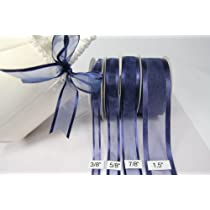 Navy Blue Organza Ribbon With Satin Edge-25 Yards X 7/8 Inches