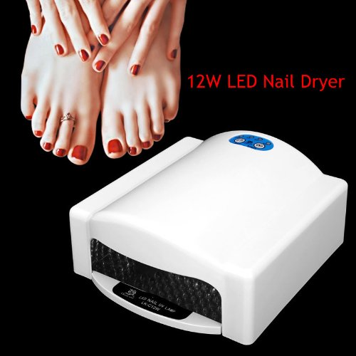 Cherry Nail 12W Professional Led Nail Dryer Light/Lamp Fast Gel Nail Polish Dryer With Fixed Time Function - White