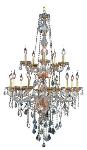 Elegant Lighting 7815G33Gs-Gs/Rc Verona 52-Inch High 15-Light Chandelier, Golden Shadow Finish With Golden Shadow (Champagne) Royal Cut Rc Crystal front-939565