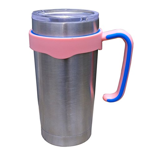 Tumbler Handle for 20 oz Yeti Rambler Cooler Cup, Rtic Mug, Sic, Ozark Trail Grip and more (20 Oz, Pink)
