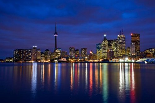 "View of Toronto Skyline at Night from 'the Docks', Toronto, Ontario, Canada. - 24""W x 16""H - Peel and Stick Wall Decal by Wallmonkeys"
