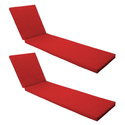 Outdoor Garden Sun Lounger Pad / Cushion 2 Pack in Red, Comfortable and Lightweight. Great for Indoors and Outdoor Use, Made from High Quality Water Resistant Material.