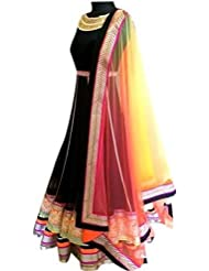 Latests Fashion Heavy Designer Black Gown With Multi Color Border Lace Work