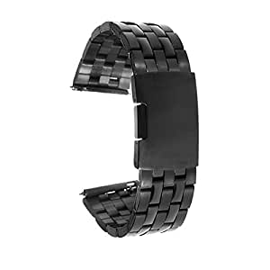 XIEMIN Deluxe Stainless Steel Metal Bracelet Watchband Strap Watch Band for Lg G Watch Smart Watch (Black Stainless)