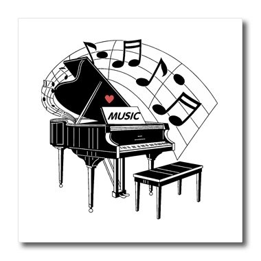 3dRose ht_44809_3 Black Piano with Dancing Notes N Love Music on It-Iron on Heat Transfer for White Material, 10 by 10-Inch
