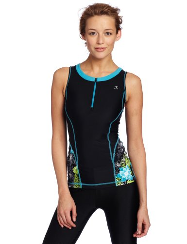 Danskin Women's Print Triathlon Tank, Black/Electric Blue, Small