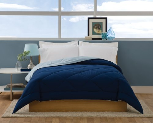 Villa Collection Solid Color Reversible Queen Comforter, Spa Blue To Navy