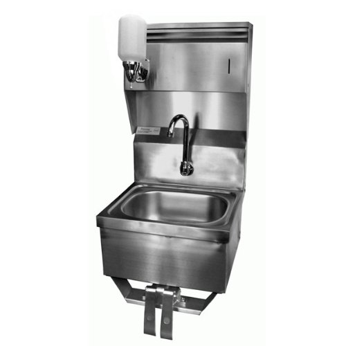 "ACE Stainless Steel Wall Mount Hand Sink 16""x 15""w/knee Operated Valve Lead Free, Towel and Soap Dispenser"