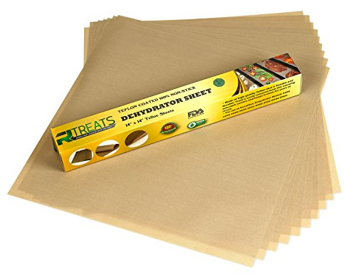 RL Treats - Superior Premium Pack of 9 Pack Super Non-stick, Food Dehydrator Sheets Teflon Re-usable Sheet Measures 14