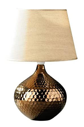 Premier housewares hammered bronze ceramic table lamp with for Hammered gold floor lamp