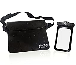Premium Waterproof Waist Pouch + Phone Bag (2 item Bundle) for iPhone, Samsung Galaxy, iPad Mini & Kindle (Black / Transparent)