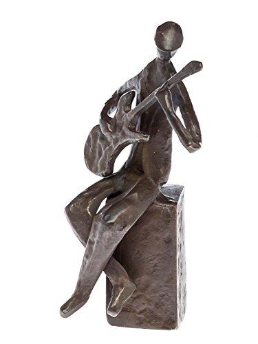 Skulptur-Gitarrist-14cm-Gitarre-Figur-Bass-Bassist-Bronzefigur-moderne-Kunst
