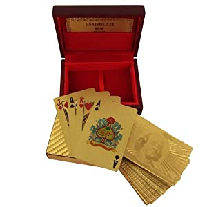 Playing Cards Deck in 999.9 Gold Foil Unusual Gift from India