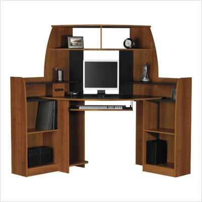 Buy Low Price Comfortable Ameriwood 9128025 72″ Corner Computer Desk in Inspire Cherry (B003OLUIM2)