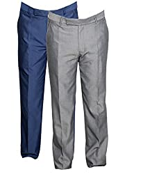 IndiWeaves Mens Rayon Formal Trousers Combo (Pack of 2)_Gray--Gray_Size- 36