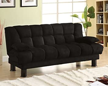 Bonifa Black Finish Microfiber Futon Sofa Set