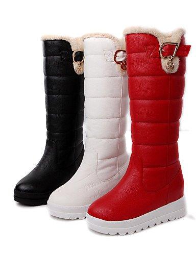 Gll&Xuezi Scarpe Donna - Stivali - Formale - Stivali da neve / Punta arrotondata - Plateau - Finta pelle - Nero / Rosso / Bianco , red-us8 / eu39 / uk6 / cn39 , red-us8 / eu39 / uk6 / cn39