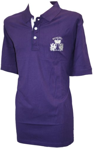 Espionage 100% Cotton Button Down Collar Rugby Polo Top-Available in black or purple