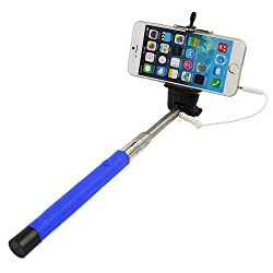 Casotec Wired Remote Shutter Extendable Handheld Selfie Stick Monopod for IOS Android - Dark Blue