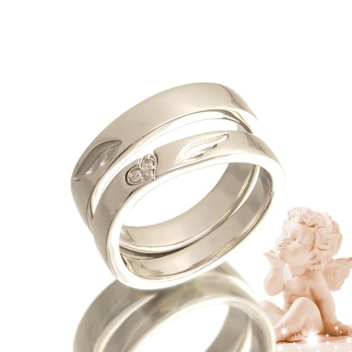 エンジェルペアリング ダイヤモンド 指輪 2個セット pair ring ケース付き 【メンズプラチナタイプ18号】【レディースプラチナタイプ12号】