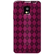 Amzer 91072 Luxe Argyle High Gloss TPU Soft Gel Skinase - Hot Pink For LG Optimus 2X P990