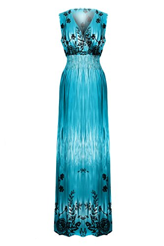 Chic Women's Bohemian Summer Smocked Jersey Maxi Dress(DRS-MAX,GRNA16
