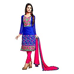 Vardhman Synthetics Women's Embroidered Unstitched Dress Material (Blue_Free Size)