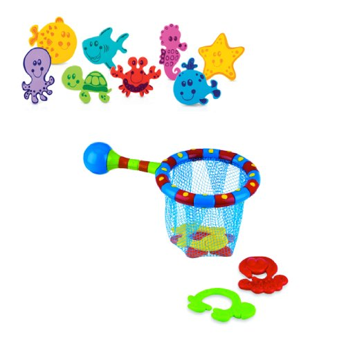 Nuby Splash N Catch - 20 Foam Animals with 1 Bathtime Fishing Set, 18 Months Plus (Discontinued by Manufacturer)