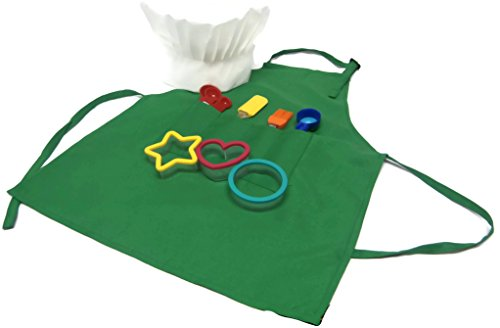 Childrens Baking Set With Apron, Chefs Hat, And 7 Piece Tool Set (Green)