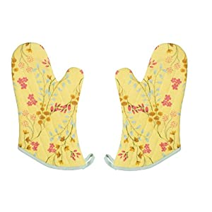 Now Designs Basic Oven Mitts, Secret Garden, Set of 2