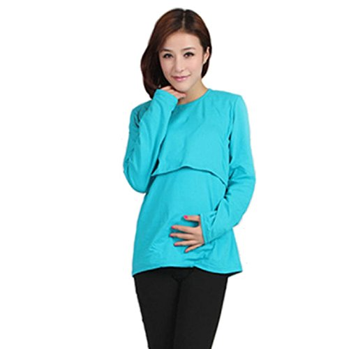 Ularmo Pregnant Maternity Clothes Nursing Tops Breastfeeding Vest T-Shirt (blue a)