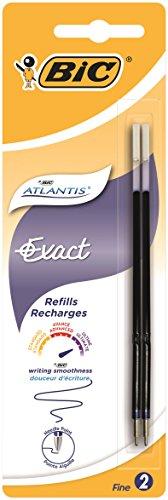 BIC Lot de 5 Blisters de 2 Recharges Pte fine 0,7 mm Bleu pour Stylo bille ATLANTIS EXACT