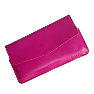 i-KitPit : Genuine Leather Pouch Case Cover For Lava Xolo q1000 / A1000 (PINK)