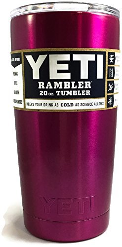 Custom Colored 20 Oz YETI Rambler Tumbler Insulated Travel Cup  (Pink Raspberry)