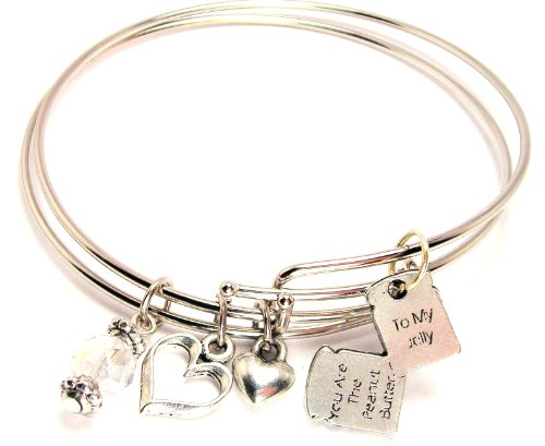 You Are the Peanut Butter to My Jelly Adjustable Bangle Bracelet