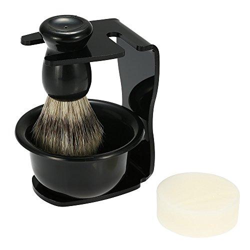 Docooler 4 In 1 Men's Shaving Set, Shaving Badger Hair Brush + Shaving Razor Holder Stand + Soap Bowl + Shaving Soap (Shaving Brush Bowl compare prices)