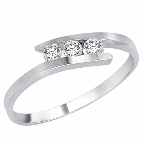 DivaDiamonds Sterling Silver 3 Stone Channel Set Round Diamond Engagement Ring (1/4 cttw)