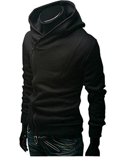 Lerela Mens Loose Fit Side Zipper Tailored Long Sleeve Hooded Sweatshirt Hoodie (Mens Hoodie Side Zip compare prices)