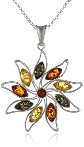 """Sterling Silver Multi-Color Amber Star Pendant Necklace , 18"""""""