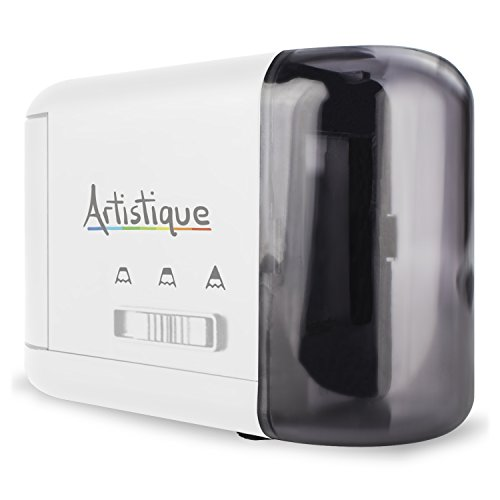 Artistique® Electric Pencil Sharpener - Best Heavy-Duty Automatic Electric Pencil Sharpener for Art, Office & School - Works w/ Lead & Colored Pencils - Uses Battery or Wall Power - White (Auto Pencil Sharpener compare prices)