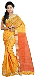 MADEII E-commerce Women's Cotton Saree with Blouse Piece (Yellow)