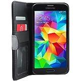 iProtect Samsung Galaxy S5 Schutzh�lle Book Style Kunstleder S 5 Premium Wallet Case mit Ausweis Fach schwarz